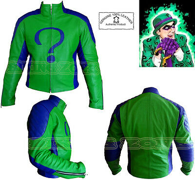 THE RIDDLER STYLE MENS CE ARMOURS MOTORBIKE / MOTORCYCLE LEATHER JACKET