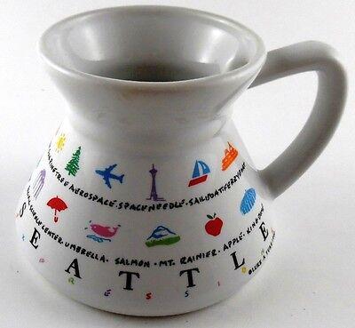 Seattle WA Spill Proof Coffee Cup Mug LUKE-A-TUKE 1990 Space Needle Mt Rainier