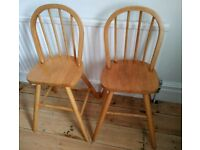 Two Pine Childrens Tall Chairs