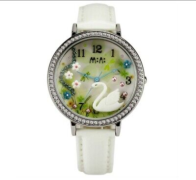 Swan Lake Theme Fashion Watch | 3D Picture Crystal Rhinestone White Flowers for sale  Shipping to India