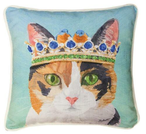 "CATS IN HATS ""CAT WITH CROWN"" PILLOW"