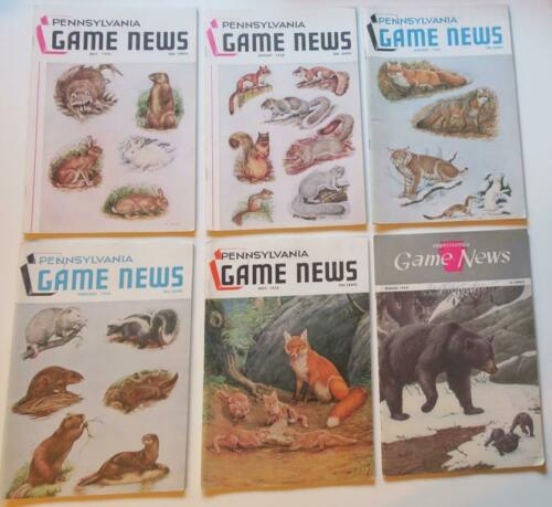 SIX 1950s Pennsylvania Game News Issues,Dr. Earle Poole Mammal Covers in Color