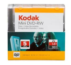 Kodak 25 Mini DVD-RW IN CASES (5x5 packs) Blank Discs 1.4GB 30 Min 2x WriteSpeed