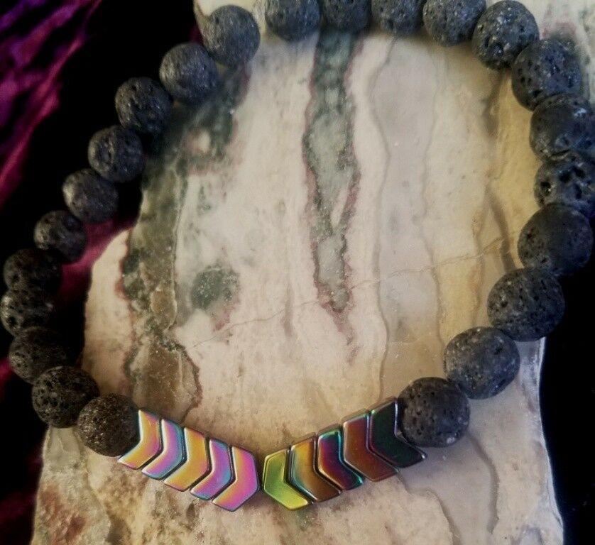 Lava Bead Essential Oil Diffuser Bracelet Black Lava Arrows