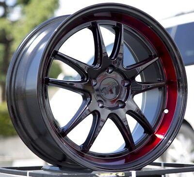 18x8.5/9.5 +38 F1R F102 5X114.3 BLACK RED WHEELS FITS TSX RSX CIVIC S2000 IS250