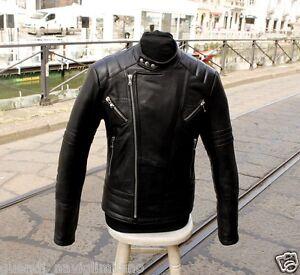 Giubbotto-pelle-chiodo-moto-byker-cafe-racer-custom-con-Trapunta-Autunno-Inverno
