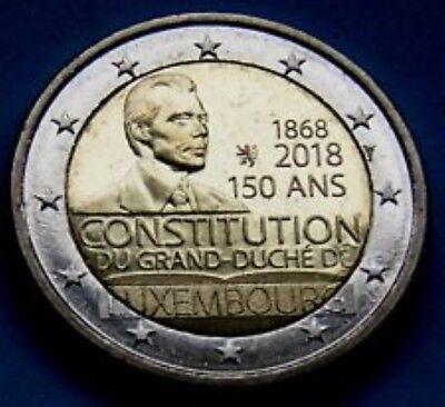 Luxemburg  2018  2 euro comm. Costitution met MMT Leeuwtje UNC uit de rol  !!!