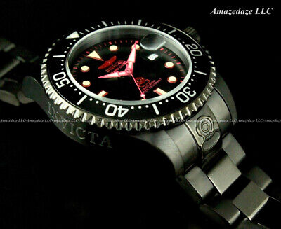 NEW Invicta Men 300M Black Dial Automatic Grand Diver Stainless Steel Watch !!