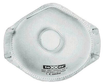 teXXor® Mundschutz FFP2 -V NR D | Atemschutz mit Ventil | 12 Stück | CE2797