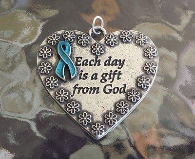 Health 1 Heart Ovarian Cancer Awareness Teal Ribbon Pendant New