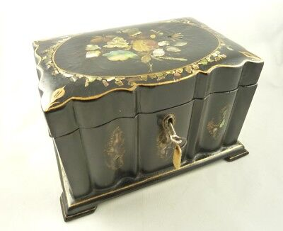 Black Lacquer Trinket Box Papier Mache with Abalone Inlay Antique Victorian Snuff Box