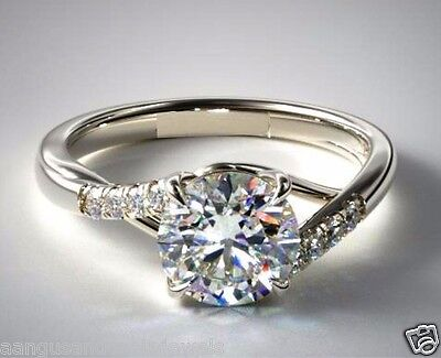 Cut Micro Pave Diamond (Real 1.54cts Brilliant Cut Micro Pave Set Diamond Engagement Ring 14k White Gold )