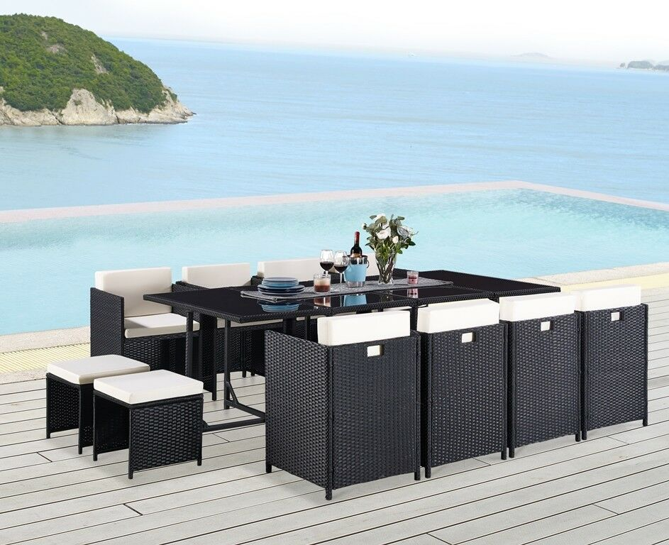Garden Furniture - 13 Piece Rattan Garden Furniture Set Choice of Colour with Cover Option