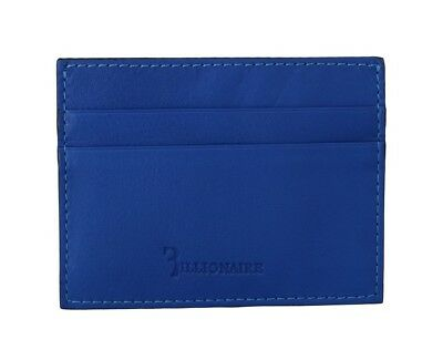 NEW $350 BILLIONAIRE COUTURE Mens 650 Blue 100% Leather Logo Cardholder Wallet