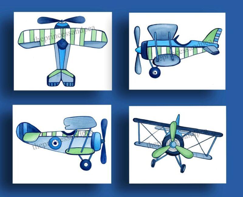 VINTAGE AIRPLANES LITTLE PLANES BEDDING KIDS BABY boys WALL ART DECOR NURSERY