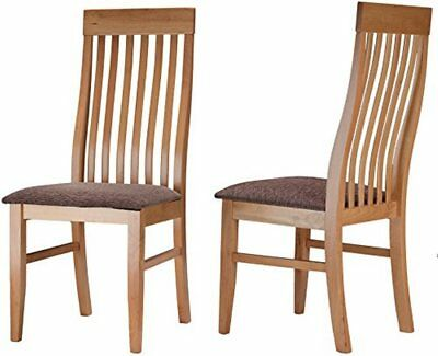 Cortesi Home Como Job Style Dining Chair in Light Maple Finish and Brown Fab