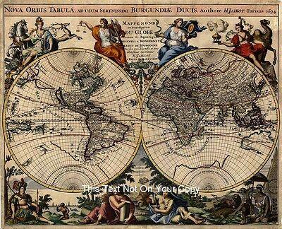 Alexis Jaillot Reproduktion Antik Alt 1694 Dekoriert Farbe Farbe Weltkarte