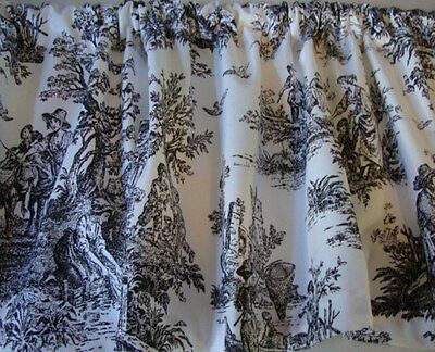 - Black and White French Toile Print VALANCE Curtain Custom Made Window Treatment