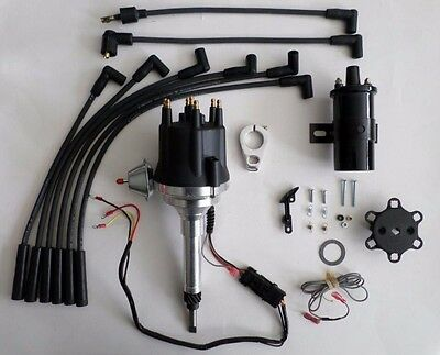 small cap CHEVY INLINE 6 Cylinder 235 Black HEI Distributor + 45K Coil + (Cap 6 Cylinder)