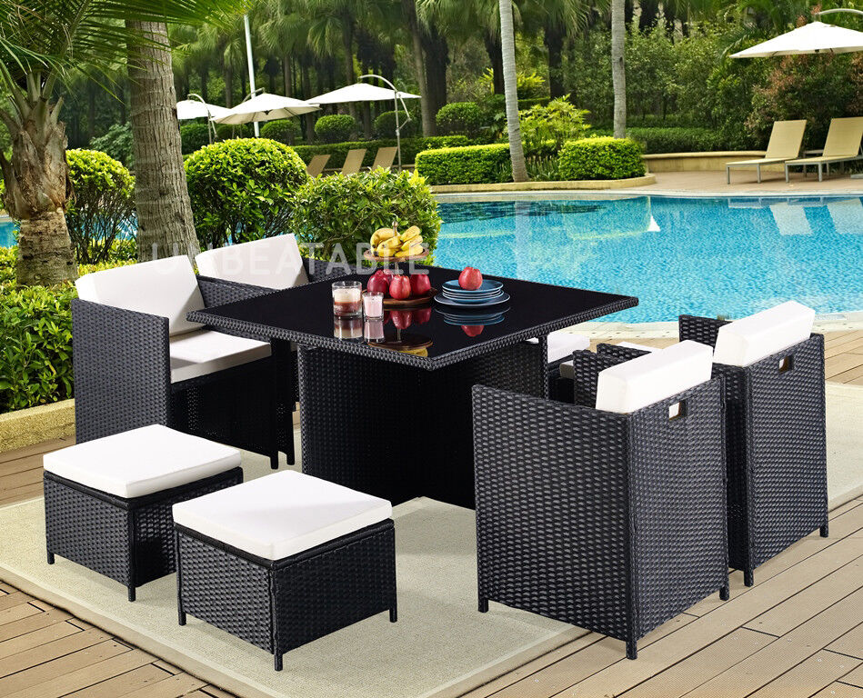 Garden Furniture - 9 Piece Rattan Garden Furniture Set Choice of Colour with Cover Option