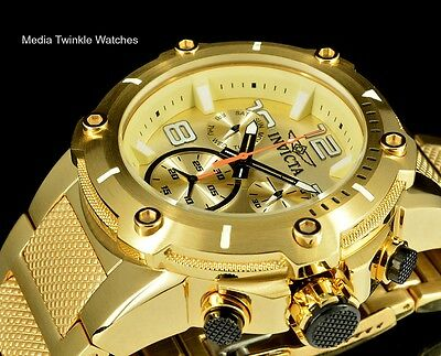Invicta Speedway XL Champagne Dial Swiss Parts Chronograph Gold Tone S S Watch