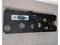 Old road worn retro black guitar case