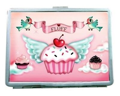 Cupcake Heaven Sweets Ladies Pink Cherry Business Card Id Case Rockabilly Fluff