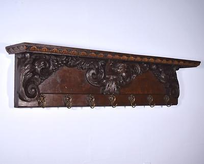"*51"" Antique French Oak Coat Rack Hall Tree Wood Shelf Highly Carved w/Angel"