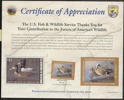 USA**AMERICAN WIGEONS-DUCK HUNTING STAMP 2007+Certificate-BIRD-CANARD-EEND
