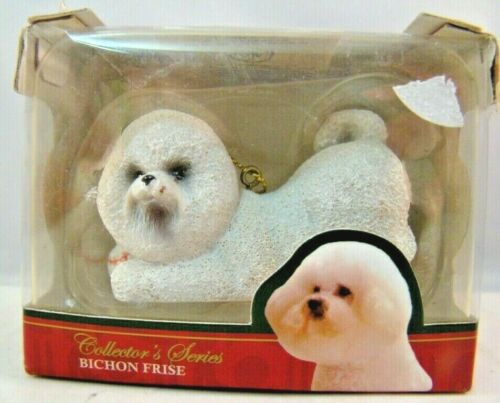 Bichon Frise Dog Ornament Christmas Decoration Pet Holding Baseball ACA White