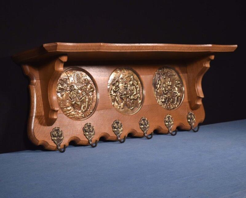 "*36"" Vintage French Oak Coat Rack/Wood Shelf with Stamped Brass Panels"