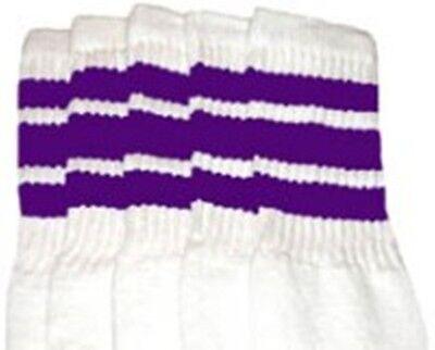 "22"" KNEE HIGH WHITE tube socks with PURPLE stripes style 1 (22-61)  - Knee High Purple Socks"