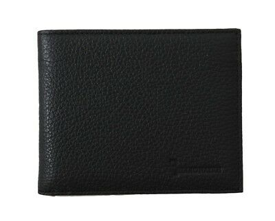 NEW $450 BILLIONAIRE COUTURE Mens Nero Black Leather Bifold Logo Money Wallet