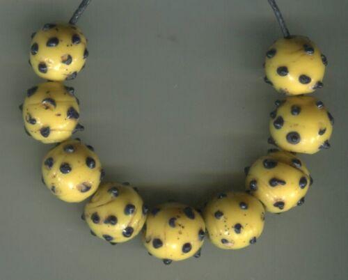 African Trade beads vintage Venetian old glass 9 rare yellow raised eye