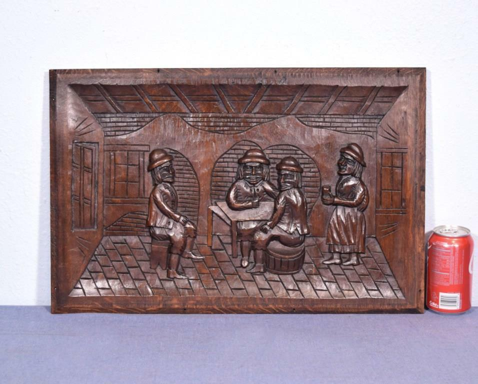 *French Antique Carved Panel Solid Oak Wood Door with Men Drinking in a Bar