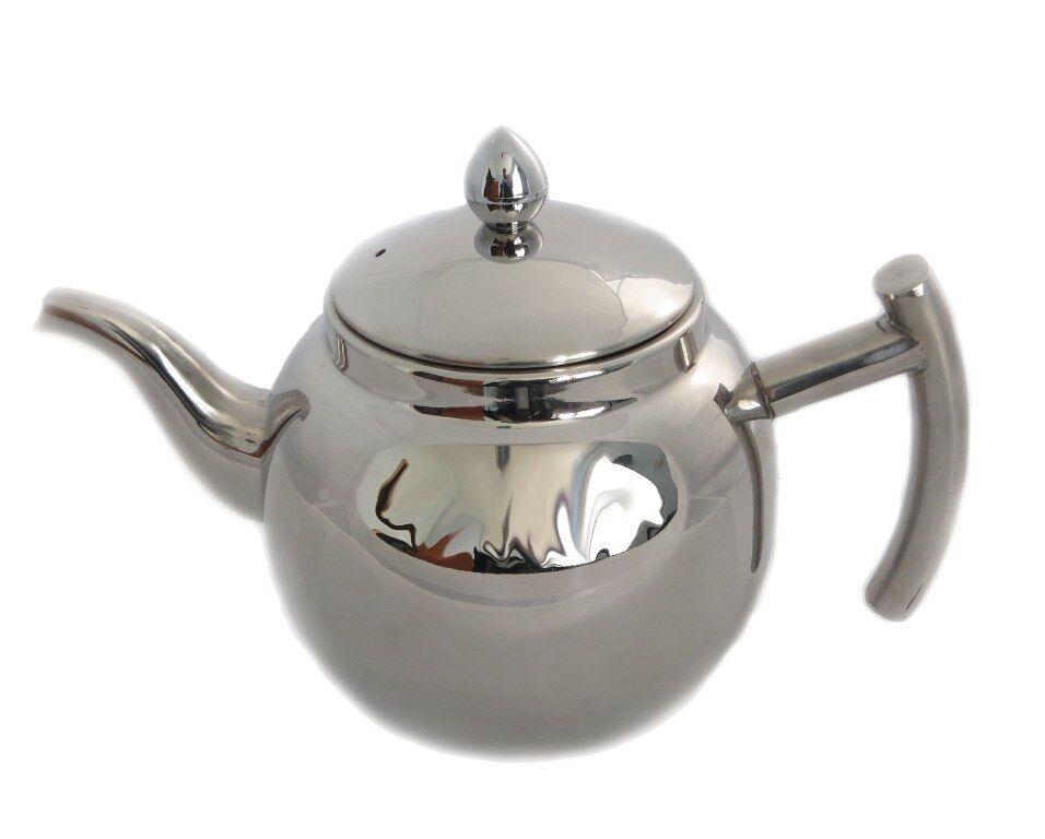 Design Edelstahl Teekanne oder Kaffeekanne mit Sieb und Deckel 1 Liter Volumen