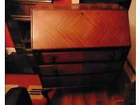 Lovely solid wood writing bureau with cabriole legs and drop-down writing surface