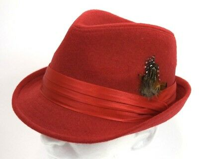 Cuban Hat (Men's Fedora Hat Cuban Style Upturn Short Brim Casual Cap Wool Blend Solid Red)