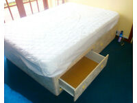 IKEA king size double bed, firm mattress and mattress protective cover