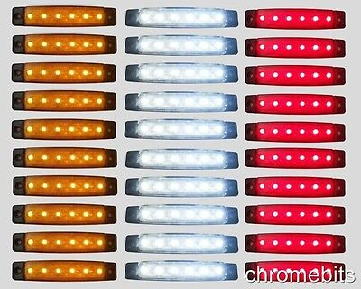 30 pcs 12V 6 LED SMD WHITE YELLOW RED SIDE MARKER LIGHT POSITION TRUCK TRAILER