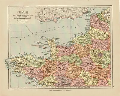 EDWARD STANFORD MAP  1920 . NORTH WEST FRANCE