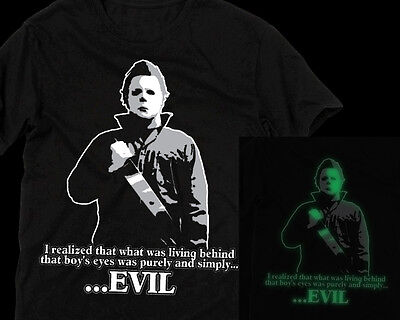Michael Myers EVIL glow in the dark T Shirt Halloween Dr. Loomis horror movie](Halloween Movie Dr Loomis)