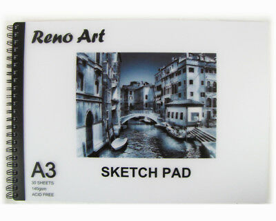Sketch Book Pad A3 30 Sheet 140 gsm Drawing Painting Art Craft Reno Art