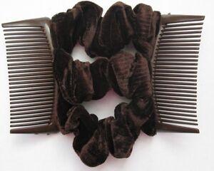 brown velvet fabric material double elastic stretch hair comb updo bun maker