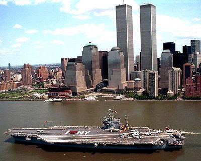 USS John F Kennedy At World Trade Center 8.5x11 Color Photo