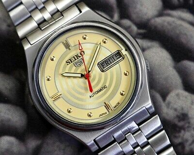 SEIKO 5 AUTOMATIC CAL.7009 MEN'S JAPAN REFURBISHED USED OLD VINTAGE WATCH 200105