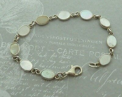 Vintage Sterling Link Bracelet, 8 X 6mm Mother of Pearl, Konder #367