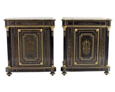 A Pair of Napoleon III French Gilt Bronze Mounted Brass Inlaid Cabinets1852-1870