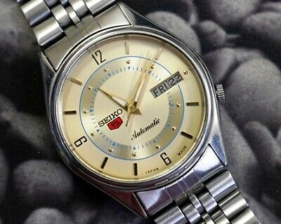 SEIKO 5 AUTOMATIC CAL.7009 MEN'S JAPAN REFURBISHED USED OLD VINTAGE WATCH 200121