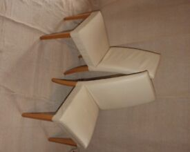 Set of 4 cream faux leather dining chairs